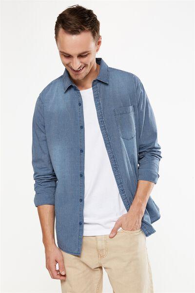 91 Shirt, INDIGO FINE STRIPE