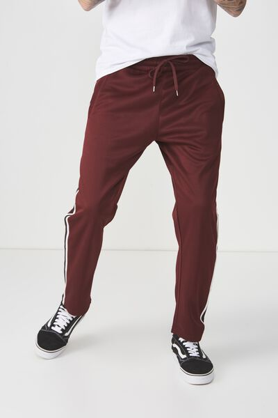 Slim Side Stripe Track Pant, BURGUNDY