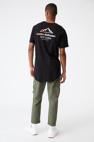 Longline Scoop T-Shirt, BLACK/OUTDOOR ENTHUSIAST FADE