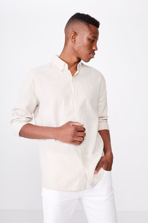 Premium Linen Cotton Long Sleeve Shirt, OATMEAL