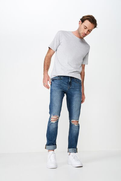 Slim Fit Jean, DARKOUT BLUE + BLOWOUTS