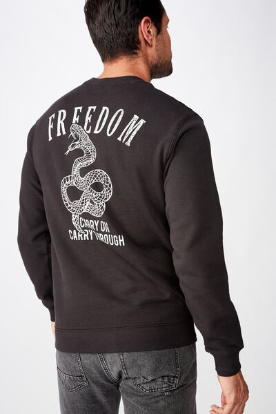 Crew Fleece 2, WASHED BLACK/FREEDOM