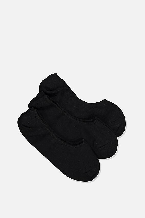 Invisible Socks 3 Pack, BLACK