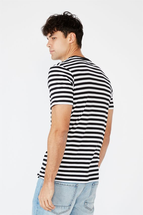 Tbar Premium T-Shirt, BLACK WHITE 50 50 STRIPE