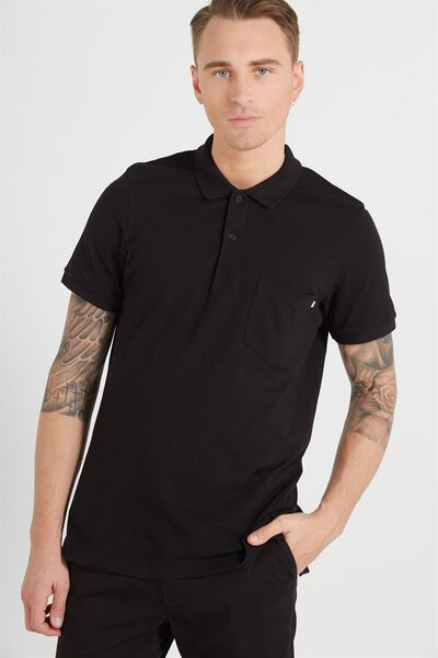 Short Sleeve Icon Polo Regular Fit, BLACK/ POCKET