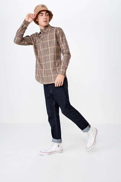 Brunswick Shirt 3, TAN INDIGO WINDOW CHECK