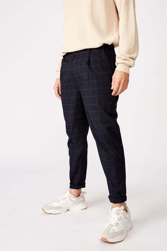 Oxford Trouser, NAVY GREEN CHECK