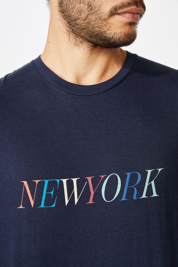 Tbar Text T-Shirt, TRUE NAVY/NEW YORK COLOURS