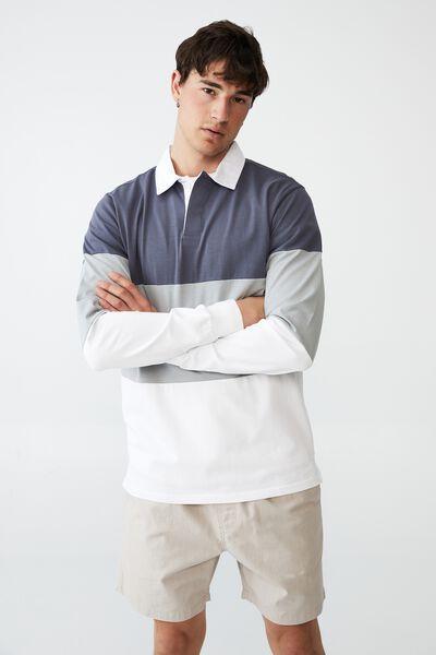 Rugby Long Sleeve Polo, DUSTY DENIM TRI BLOCK