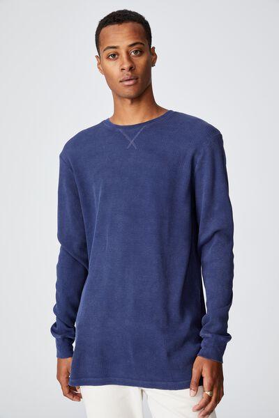 Acid Waffle Long Sleeve T-Shirt, INDIGO ACID