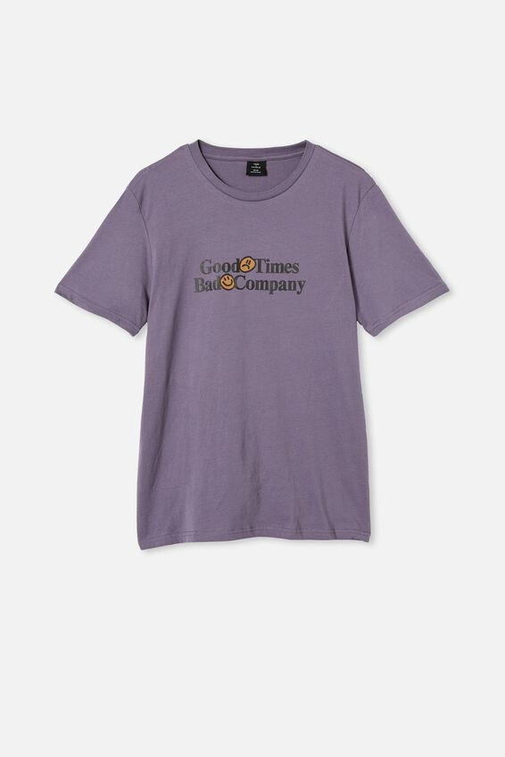 Tbar Text T-Shirt, CADET PURPLE/GOOD TIMES BAD COMPANY