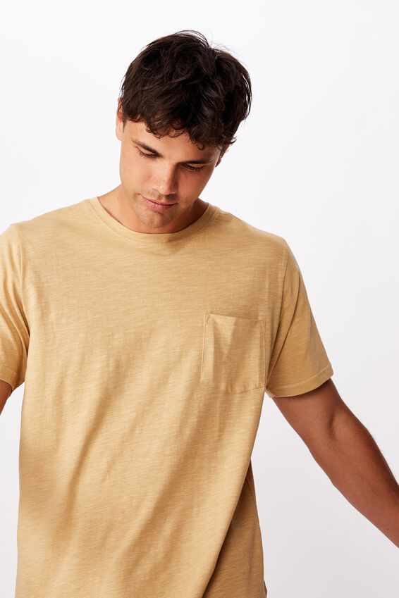 Slub Crew Neck Tee, LIGHT CAMEL