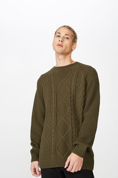 Cable Knit, KHAKI