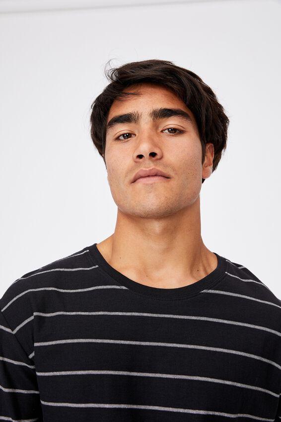 Brunswick Stripe Long Sleeve T-Shirt, BLACK/VINTAGE WHITE TRIPLE STRIPE