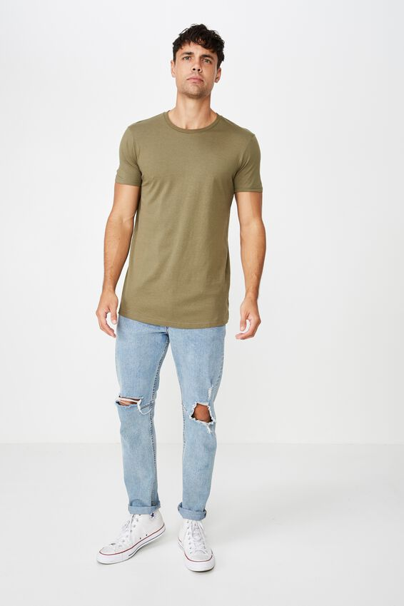 Essential Longline Scoop Tee, JUNGLE KHAKI