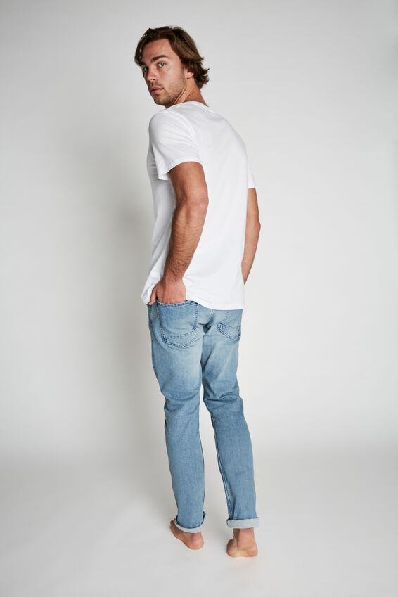 Tapered Leg Jean, MID BLUE