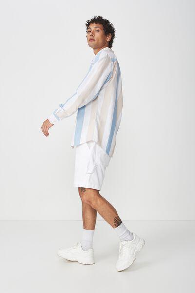 Brunswick Shirt 3, ECRU BLUE BOLD STRIPE