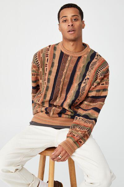 Vintage Multi Knit, NAVY ORANGE MULTI
