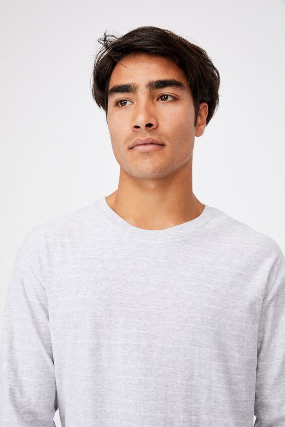 Brunswick Stripe Long Sleeve T-Shirt, LIGHT GREY MARLE/WHITE EASY STRIPE