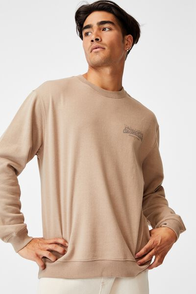 Graphic Crew Fleece, TAUPE/PASADENA MOTORCYCLES