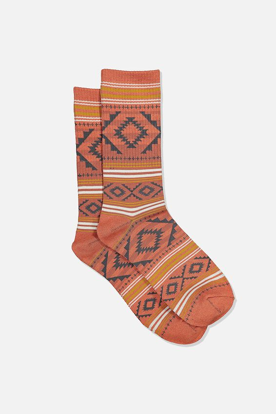 Single Pack Active Socks, BURNT RED MARLE CHARCOAL AZTEC STRIPE