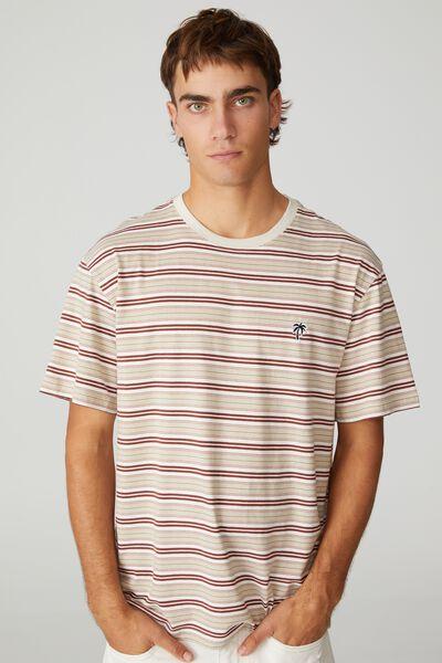 Dylan T-Shirt, BARN RED 70S STRIPE