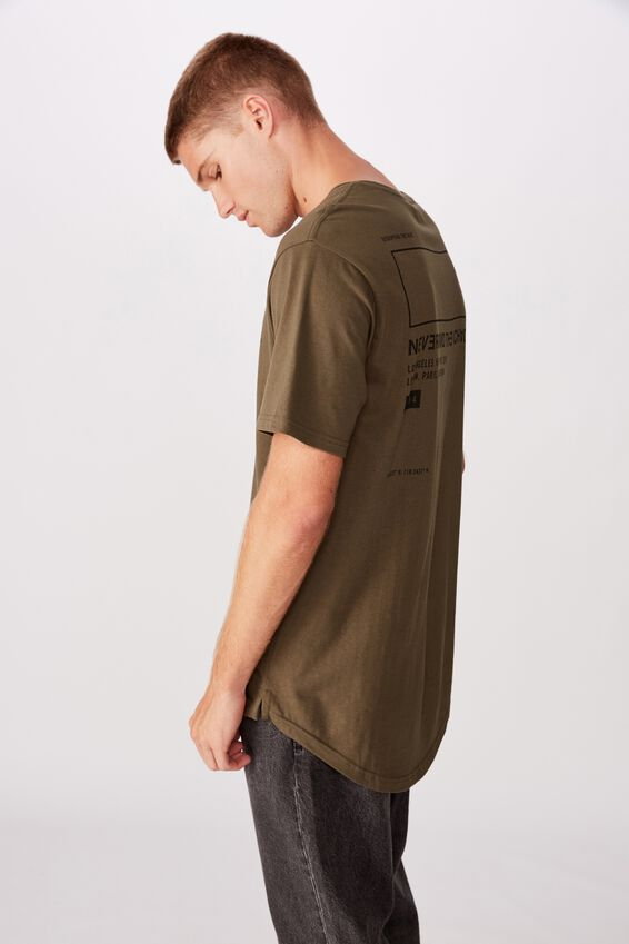Longline Scoop Hem Tee, WASHED KHAKI SQUARE CHAOS