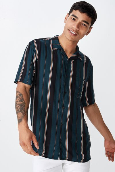 Festival Shirt, GREEN BLACK TAN STRIPE