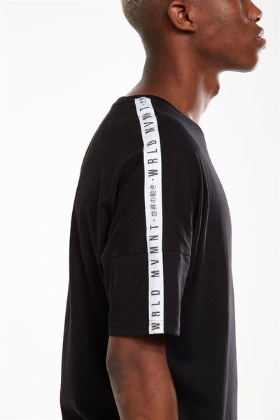 Drop Shoulder Longline, BLACK/WRLD MVMNT TAPE