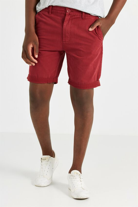 Washed Chino Short, WASHED RED