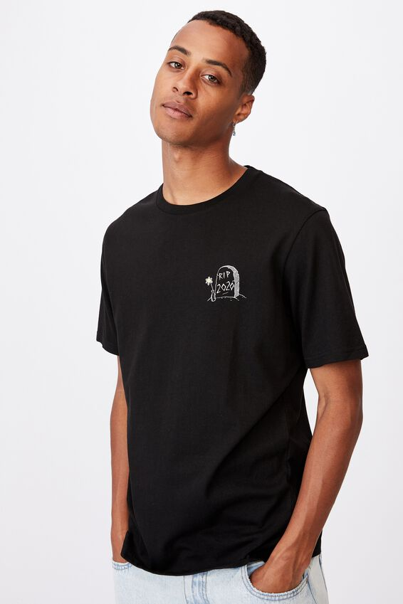 Tbar Text T-Shirt, BLACK/RIP 2020