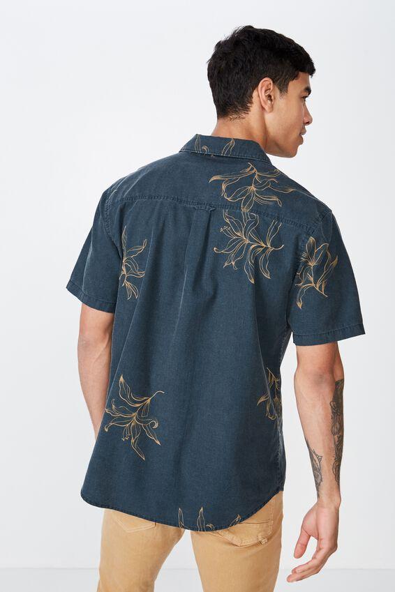 Short Sleeve Resort Shirt, DARK NAVY SPACED FLORAL