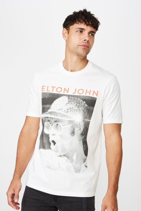 Tbar Collab Elton John T-Shirt, LCN BR VINTAGE WHITE/ELTON JOHN - SPARKLE