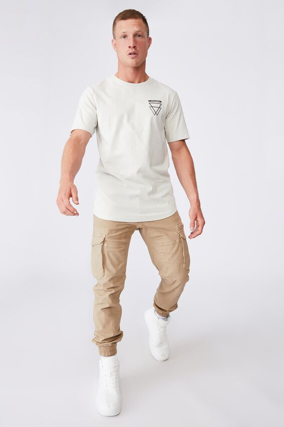 Longline Scoop T-Shirt, IVORY/WORLDS ABOVE
