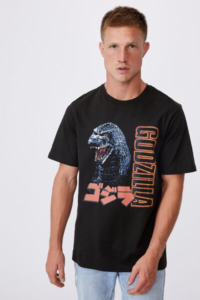 Tbar Collab Movie And Tv T-Shirt, LCN GOD WASHED BLACK/GODZILLA-MONSTER