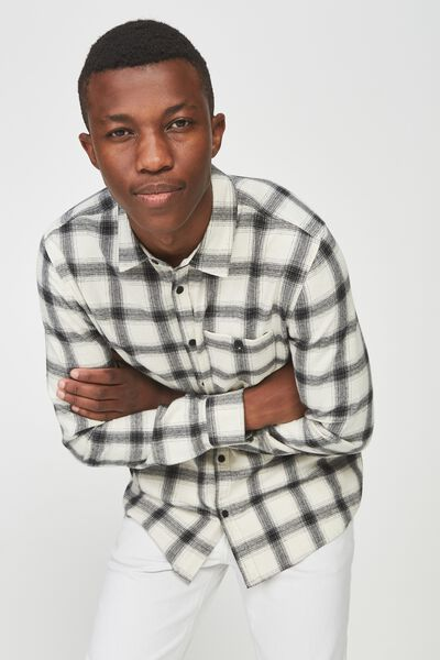 91 Flannel Check Shirt, WHITE BLACK CHECK