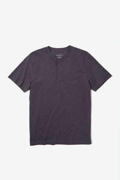 Organic Henley T-Shirt, CHARCOAL MARLE