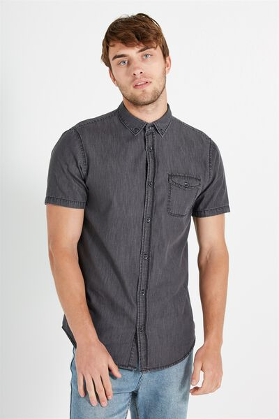91 Short Sleeve Shirt, GREY DENIM