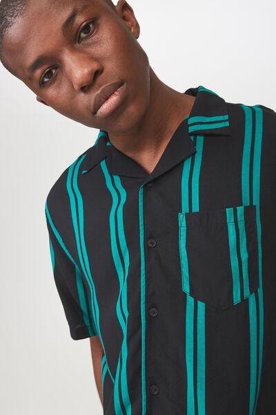 Festival Shirt, BLACK TEAL STRIPE
