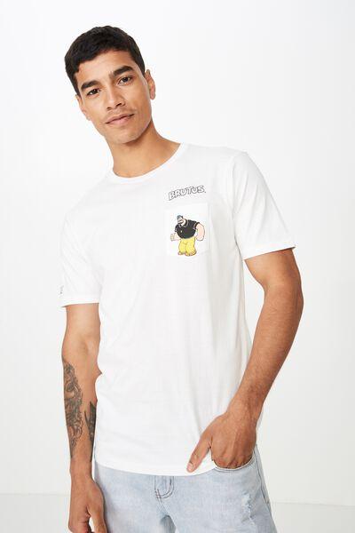 Tbar Collab Character T-Shirt, LCN POP VINTAGE WHITE/BRUTUS HAT