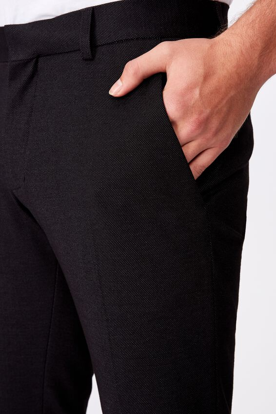 Super Stretch Suit Slim Pant, KNITTED BLACK