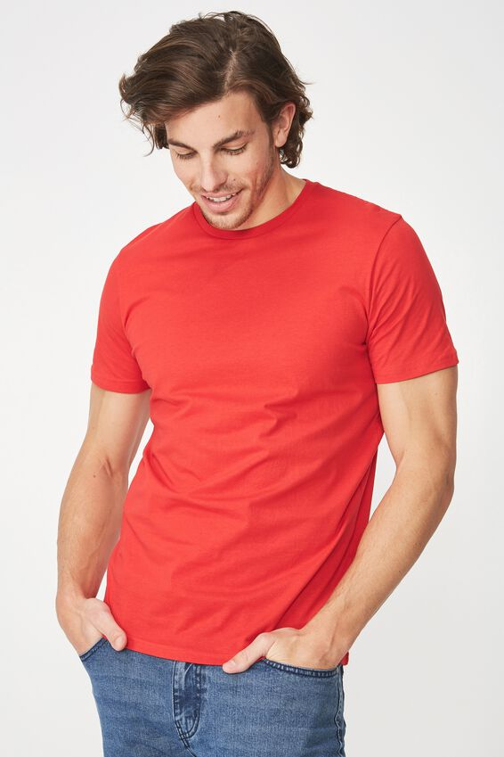 Essential Crew Tee, STRONG RED