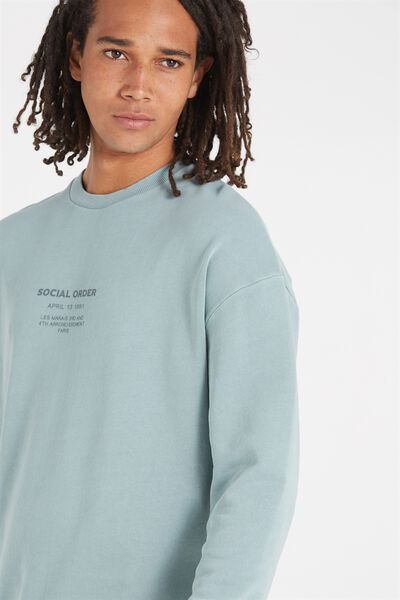 Drop Shoulder Crew Fleece, AQUA TEAL/SOCIAL ORDER