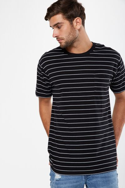Dylan Tee, BLACK/WHITE SPACED STRIPE/UNLMTD FLAG