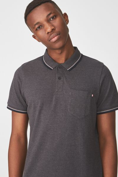 Icon Polo, CHARCOAL MARLE TIPPER