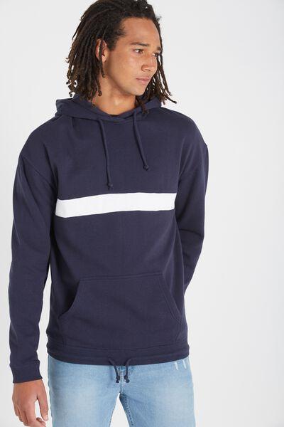 Drop Shoulder Pullover Fleece, TRUE NAVY/WHITE