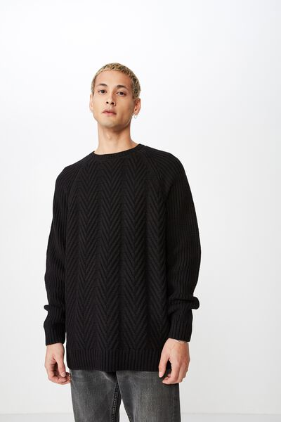 Cable Knit, BLACK