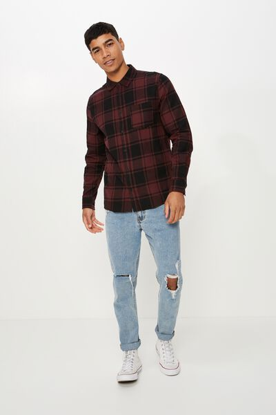 Rugged Long Sleeve Shirt, BLACK BURG CHECK