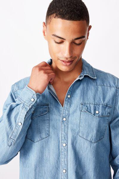 Fitzroy Denim Shirt, WORN BLUE