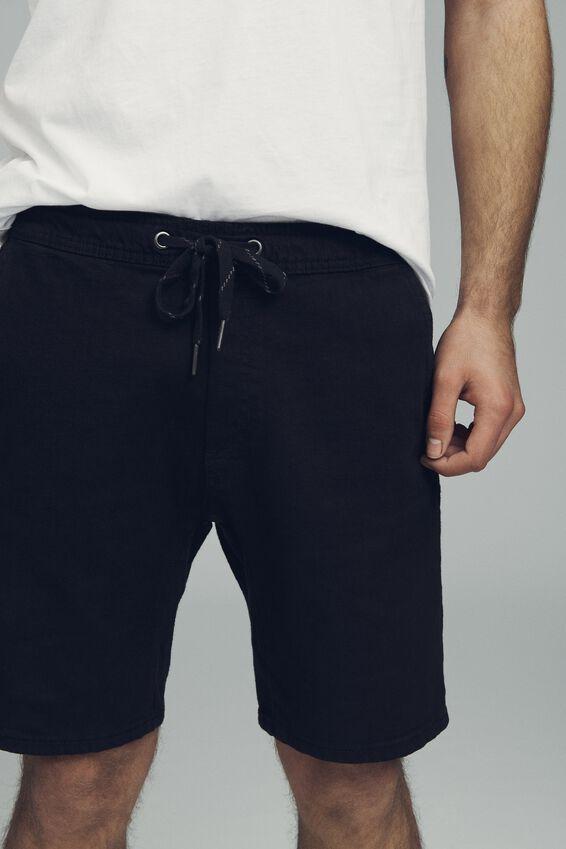 Customised Denim Short, BLACK